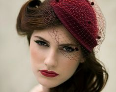 Damson Red Cocktail Hat, Wool Felt Double Veil Vintage Style Tea Party Hat