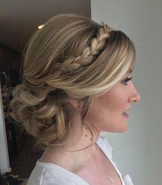 Look at this dreamy style for fall bride Alicia! I designed a low-hanging soft style with a braid headband and volume for a glam romantic…