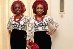 Aso ebi - White lace top, velvet wrapper and red head-tie/gele