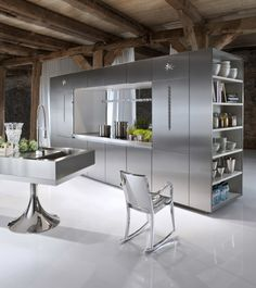 Miele Kitchen Showroom Interior Design in Germany with Hudson Chair by Emeco Kitchen Cabinet Design, Stainless Steel Kitchen Design, Kitchen Remodel, Contemporary Kitchen Design, Contemporary Kitchen, Miele Kitchen, Modern Kitchen Design, Minimalist Kitchen, Kitchen Remodel Design