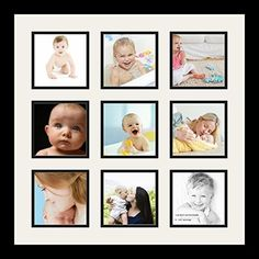 art to frames doublemultimat796189frbw26079 collage photo frame double mat with 9 5x5 openings and satin black