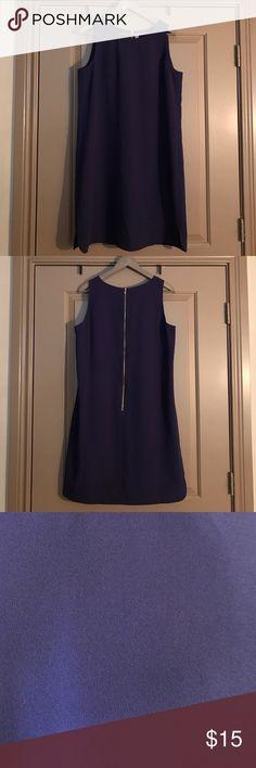 "Loft shift dress. Loft shift dress with exposed back zipper. Shoulder to hem: 37"". Dolphin hem on both sides of dress. Color is a deep purple. 100% polyester. Machine-washable. LOFT Dresses"