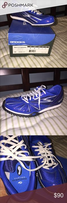 Mach 6.0 Spikeless Brooks Running Shoes Unisex/medium -  Size 7 blue/white Brooks running shoes. Slightly used, probably just once. Clean, odorless, in original box. Brooks Shoes Athletic Shoes