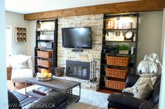 Loving the ceiling wood detail over the fireplace wall.