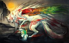This HD wallpaper is about anime, Okami, Original wallpaper dimensions is file size is Fantasy Creatures, Mythical Creatures, Console Wii, Sakimichan Deviantart, Animated Wallpapers For Mobile, Desktop Wallpapers, Thomas Astruc, Wolf Artwork, Fantasy Artwork