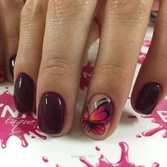 This is the beautiful autumn time manicure. The warm dark hues of the nail polis…
