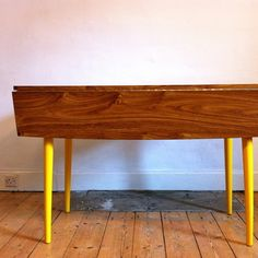 1970s Drop-leaf Table With Sunshine Yellow Legs