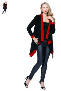 This Belldini best seller has flare with a bold color pop. It has one solid color on the outerwear and a contrasting interlining. The sweater is long sleeve with waterfall opening that gives the hi-low effect on the sides.