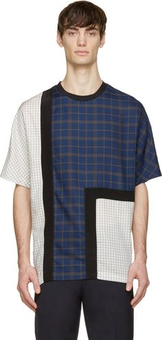 3.1 Phillip Lim White & Blue Mixed Plaid T-Shirt