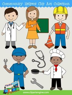 This collection includes a set of 7 royalty-free clip art graphics. It comes with black and white line art files of each design. The community helpers clip art in this collection are a teacher, mechanic, doctor, chef, construction worker, wrench, and a stethoscope.There are 14 editable EPS vector files, 14 PNG files at 300 dpi, and 14 JPG files at 300 dpi.