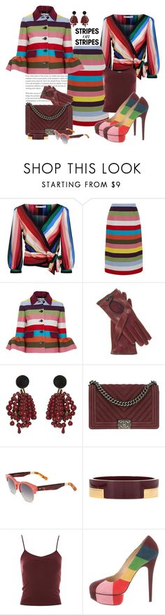 """""""Stripes on Stripes"""" by marionmeyer ❤ liked on Polyvore featuring Alice + Olivia, Mary Katrantzou, Marni, Chanel, TOMS, Topshop, Charlotte Olympia, stripesonstripes and PatternChallenge"""