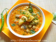 Indian Vegetable Stew.  Solid base with coconut + yogurt; can use any vegetables.  The cashews here and there are a treat.