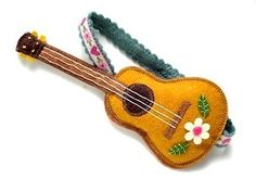 Felt Guitar quirky latin folk gypsy chic design accessory brooch design to make Felted Wool Crafts, Felt Crafts, Cadeau St Valentin, Felt Decorations, Felt Christmas Ornaments, Felt Brooch, Felt Patterns, Clothes Crafts, Felt Fabric