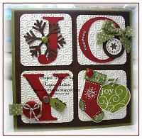 Stampin' Up! ... handmade Christmas card ... four squares ... spell JOY with die cut letters ... lovely textured squares with rounded corners fill the entire card face ... square format ... great card!