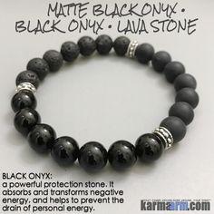 Yoga Bracelets Meditation Tibetan Buddhist Beaded Mala Men & Women. karma arm. matte black onyx lava bali. #LOA