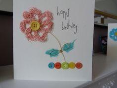 Peach Crochet Flower Birthday Card £2.00