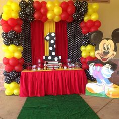 Check out this fun Mickey Mouse Birthday Party! See more party ideas and share yours at CatchMyParty.TONS of Mickey Mouse Party Ideas via Kara's Party Ideas KarasPartyIdeas. Mickey Mouse Birthday Decorations, Theme Mickey, Mickey 1st Birthdays, Fiesta Mickey Mouse, Mickey Mouse First Birthday, Mickey Mouse Clubhouse Birthday Party, Mickey Mouse Parties, Mickey Mouse Backdrop, Mickey Mouse Balloons
