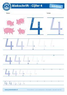 Cijfer 4 - Dit werkblad biedt het cijfer 4 aan. Oefen eerst het cijfer een aantal keer op de eerste, grote cijfers. Oefen daarna de cijfers steeds kleiner. Tip: pak een aantal gekleurde potloden en schrijf het cijfer elke keer met een andere kleur! Je kunt gewoon over het vorige lijntje heen schrijven. Zo oefen je het cijfer meerdere keren en onthoud je het beter. Je kunt het blad ook vaker printen. Download ook de andere oefenbladen en maak een boekje van al je geschreven cijfers!