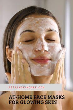 At-Home Face Masks For Glowing Skin | Estala Skin Care At Home Face Mask, Best Face Mask, Beauty Tips For Glowing Skin, Beauty Skin, Face Skin Care, Diy Skin Care, Facial Treatment, Skin Treatments, Diy Turmeric Face Mask