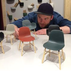 #SimonLegald playing with new toys! Right now we're introducing miniature Form chairs at @SaloneOfficial! #iSaloni