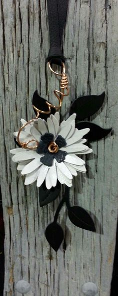 Upcycled , reclaimed leather and copper wire floral necklace by 1-Oak Up. www.Facebook.com\1oakup