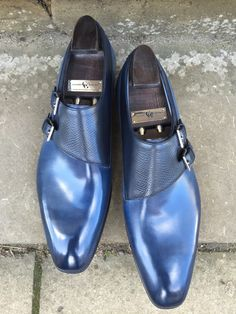 Oakham in Midnight Blue Calf and Navy Hatch Grain