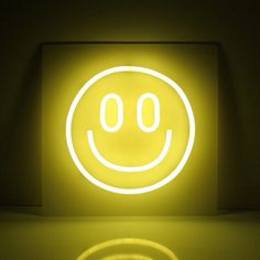 Smile | happy face neon lights interior art design yellow aesthetics |