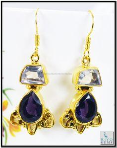 Black Onyx Citrine Cz Gemstone 18k Gold Plating Earrings L 1.5in Gpemul-5216 http://www.riyogems.com