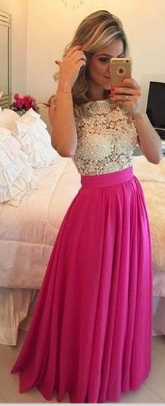 Fuchsia Elegant Lace Prom Dresses Pink Chiffon White Lace Formal Evening Gowns