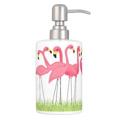 Cuban Pink Flamingos Bathroom Set @zazzle #junkydotcom June 21 2016