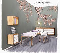 Entwurf Akupunkturraum für Arztpraxis