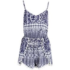 Boohoo Tilly Batik Print Pom Pom Playsuit ($20) ❤ liked on Polyvore featuring jumpsuits, rompers, jumpsuit, playsuits, romper jumpsuit, playsuit romper, jump suit, boohoo jumpsuits and playsuit jumpsuit
