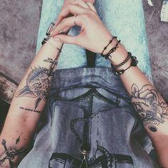 arm tattos #cat #dagger #black