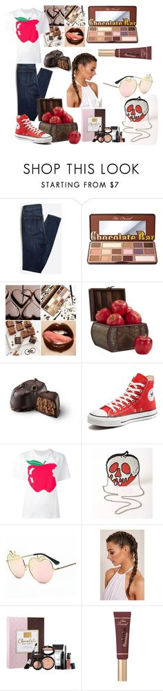 """Chocolate 🍫 and apples🍎"" by audreybrookezaring ❤ liked on Polyvore featuring Too Faced Cosmetics, Nearly Natural, Converse, Peter Jensen, Danielle Nicole and Laura Geller"