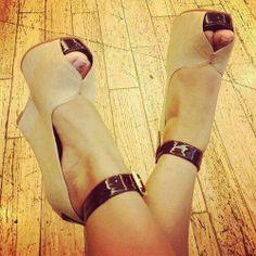 Cream wedge heels