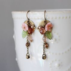 Brass Circle Coral Flower Green Leaf Multi Color by YuniDesigns