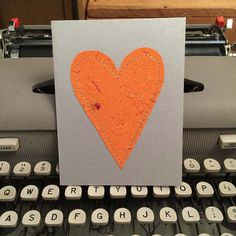 Heart Card with Handmade Paper by dead cat creations on Etsy