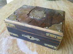 Wooden Box with Brass Features French by FromParisToProvence, €11.00