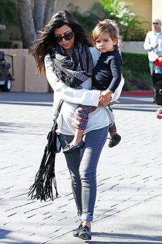 Kourtney Kardashian wearing Tom Ford Anouk Sunglasses Pencey Silk Blazer Balenciaga Oxfords BLEULAB Reversible jeans Alice + Olivia Curved Hem Silk Top