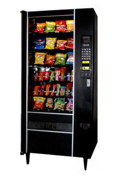 Euro Style Black 6 shelves Coins VN4510 4 Tube $1/$5 Bills VN2512 Credit Card Capable 4 wide snack machine Multi price Dual Snack Spirals 28 to 32 selections Refurbished Item