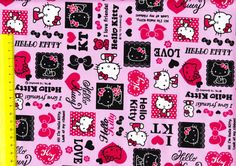 Hello kitty cotton fabric half yard Hot pink by HanamiBoutique