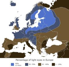 Percentage map of blue eyes in Europe.  Read that blue eyes evolved about 10,000 years ago.