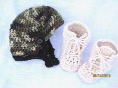 Baby Hat Booties Camo Helmet Work Boots Military Photo Prop 0 3 Months Crochet | eBay
