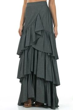 MSRP: $123.00 BUY NOW: $79.00 SAVE: $44.00 35% Gorgeous lightweight slightly faded black denim skirt with three tier ruffle in a maxi length. - 100% Cotton Denim - Hand wash cold, hang dry. - Measurem