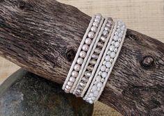 Beaded Leather Wrap Bracelet: Blush Pearl & Crystal Mix/3 Wrap Bracelet/Pastel Wrap Bracelet/Pale Pink Bracelet/Gift for Her/3rd Anniversary by DevaOriginalBracelet on Etsy