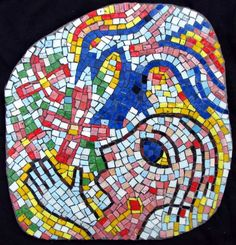 """Bluejay"" contemporary figurative mosaic I hear the screams of bluejays and the roll of distant thunder on a hot afternoon.  They are screaming for rain."