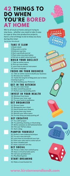42 Things to do When You're Bored at Home – Kirsten Wendlandt Stuck at home and bored? Whether you want to take it easy or dive into productive projects, here's a list of 42 things to do when you're bored at home Things To Do When Bored, When Im Bored, Things To Do Alone, Crafts To Do When Your Bored, Productive Things To Do, Things To Do At Home, Stuff To Do, All Things, Bored Jar