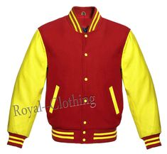 Letterman Baseball Varsity Jacket in Red Wool & Genuine Yellow Leather Sleeves Leather Sneakers, Leather Men, Leather Jackets, Royal Shop, Rain Suit, Leather Sleeves, Royal Clothing, Yellow Leather, Sports Jacket