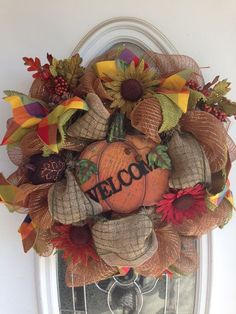 Gorgeous Fall Pumpkin Wreath made by Saturdays Boutique at Etsy.com $75.00