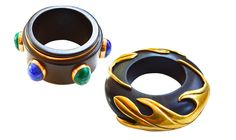 Isabel Canovas 1980s Wood Scarab and Flame Cuffs